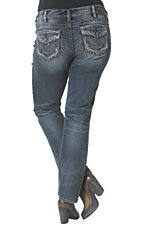 Silver Jeans Women's Medium Wash Suki Mid Rise Relaxed Fit Slim Boot Cut Jean - Plus Size