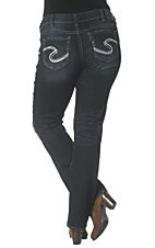 Silver Jeans Women's Dark Wash Suki Mid Rise Relaxed Fit Slim Boot Cut Jean - Plus Size