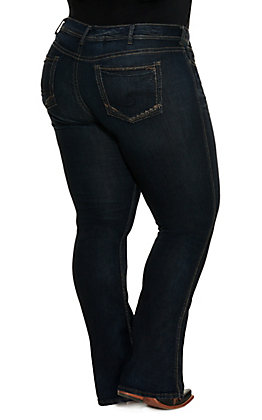 Silver Women's Dark Suki Mid Slim Boot Cut Jeans - Plus Sizes