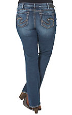 Silver Jeans Women's Medium Wash Suki Mid Rise Relaxed Fit Boot Cut Jean- Plus Sizes
