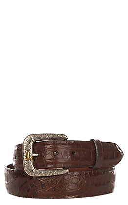 Lucchese Men's Sienna Brown Caiman Crocodile Belly Western Belt