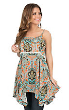 Lore Mae Women's Orange and Turquoise Ornate Print Spaghetti Strap Tunic Top