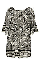 Umgee Women's Cream and Black Floral Scroll Print Dress - Plus Size