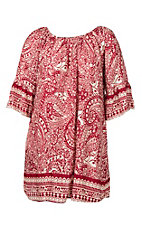 Umgee Women's Red Paisley Dress