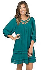 Umgee Women's Jade Ruffle Cutout Neckline 3/4 Sleeve Tunic Dress - Plus Sizes