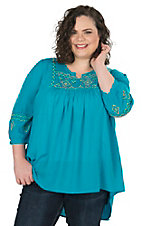 Umgee Women's Turquoise with Aztec Embroidery 3/4 Sleeve Peasant Tunic Fashion Top - Plus Size