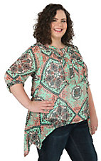 Umgee Women's Jade Print Chiffon 3/4 Sleeve Fashion Top - Plus Size