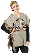 Karlie Women's Taupe Navajo Fringe Hooded Poncho