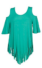 Umgee Women's Green Cold Shoulder w/ Fringe Hemline Fashion Shirt - Plus Size