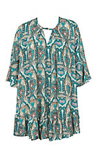 Umgee Women's Teal Print Dress