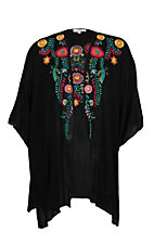Umgee Women's Black Floral Embroidered Kimono - Plus Size