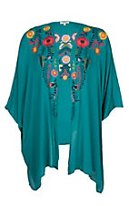 Umgee Women's Turquoise Floral Embroidered Kimono - Plus Size