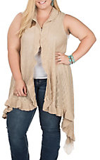 Umgee Women's Latte Tan Ruffles and Lace Knit Vest - Plus Sizes
