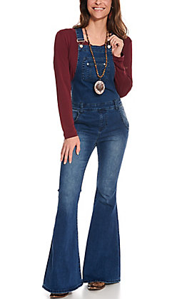Rock & Roll Cowgirl Medium Wash Flare Leg Overalls