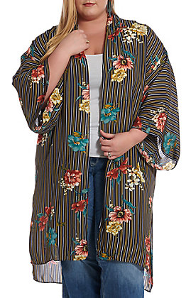 UMGEE Women's Navy Floral Striped Kimono - Plus Size
