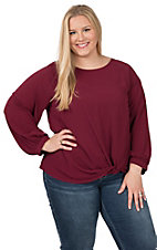 Umgee Women's Solid Merlot Puff Sleeve Fashion Top - Plus Size
