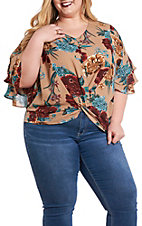 Umgee Women's Mocha Floral Knot Front Fashion Shirt - Plus Size