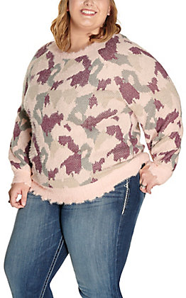 Umgee Women's Pink with Multi Animal Print Fuzzy Long Sleeve Sweater - Plus Sizes