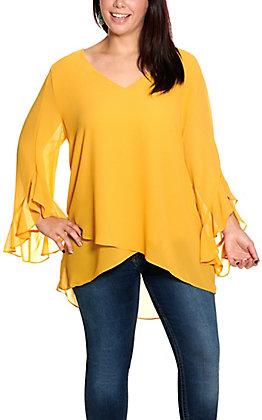 Umgee Women's Gold Asymmetrical Hem Long Ruffled Sleeves Plus Size Fashion Top