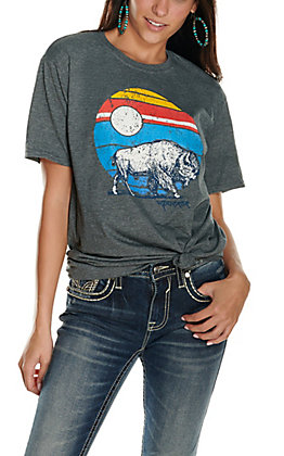 Women's Grey Wanderer Graphic Short Sleeve T-Shirt