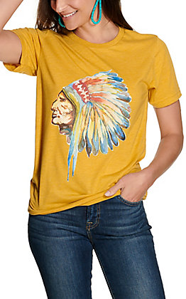 Ranch Swag Women's Mustard with Watercolor Chief Graphic Short Sleeve T-Shirt