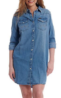 926570221d Wrangler Women s Denim Long Sleeve Shirt Dress
