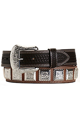 Ranger Belt Company Men's Brown with Dark Brown Basket Weave and Square Conchos Western Belt