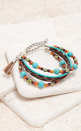 Cowboy Collectibles Brown With Multi Turquoise Pearl Beaded Bracelet