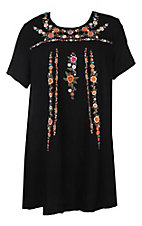 Umgee Women's Black with Multi Floral Embroidery A-Line Short Sleeve Dress - Plus Sizes