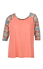 Umgee Women's Coral with Aztec Sleeves Causal Knit Top