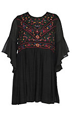 Umgee Women's Black Bell Sleeve Floral Embroidered Dress - Plus Size