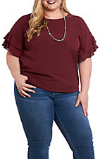 Umgee Women's Layered Ruffle Sleeve Round Neck Fashion Top - Plus Size