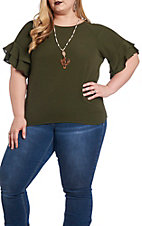 Umgee Women's Olive Layered Ruffle Sleeve Round Neck Fashion Top - Plus Size