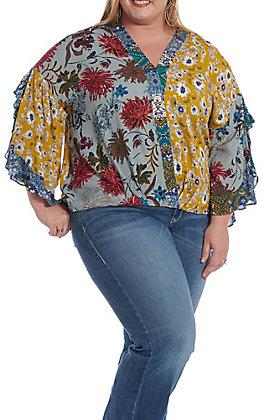 UMGEE Women's Mixed Print V-Neck Fashion Top - Plus Size