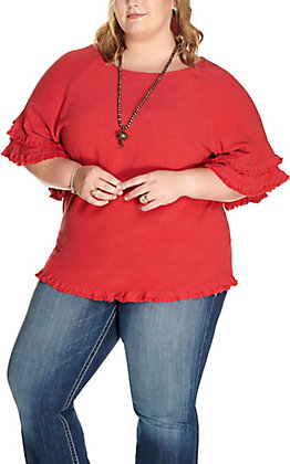 Umgee Women's Red with Fraying and Layered Short Sleeves Top - Plus Sizes