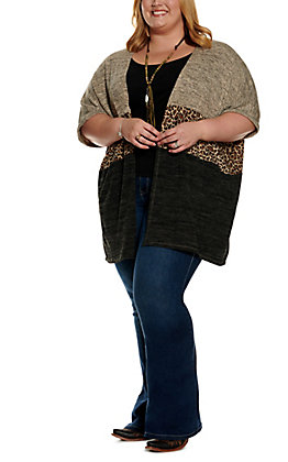 Umgee Women's Oatmeal, Charcoal and Leopard Print Color Block Short Sleeve Cardigan