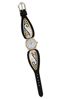 Montana Silvesmiths Women's Classic Rose Gold Scroll Leather Watch