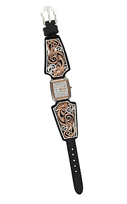 Montana Silversmiths Women's Rose Gold Vintage West Ladies Black Leather Band Watch