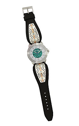 Montana Silversmiths Women's Two Tone Southwestern Unending Trails Leather Watch
