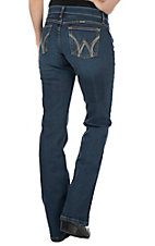 Wrangler Aura Women's Medium-Dark Wash with Brown Embroidered Pockets Q Baby Cool Vantage Boot Cut Jean