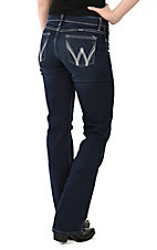 Wrangler Aura Women's Dark Wash with Metallic Embroidered Pockets Q Baby Cool Vantage Straight Leg Jean