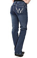 Wrangler Aura Women's Medium Wash with Metallic Embroidered Pockets Q Baby Cool Vantage Straight Leg Jean