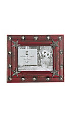 HiEnd Accents Red Wood with Stars 5x7 Picture Frame