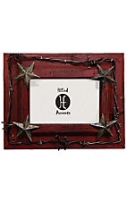 HiEnd Accents Red Wood with Stars and Barbwire 4x6 Picture Frame