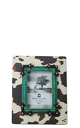 HiEnd Accents Cow Print with Turquoise Tooling Accents 4x6 Wooden Picture Frame