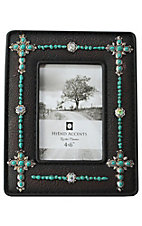HiEnd Accents 4X6 Turquoise Beaded Crosses Jeweled Picture Frame