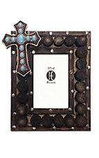 HiEnd Accents 4X6 Turquoise Beaded Cross and Wooden Circles Picture Frame