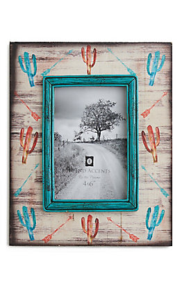 HiEnd Accents Wooden Frame with Turquoise and Coral Cacti and Aarow Design