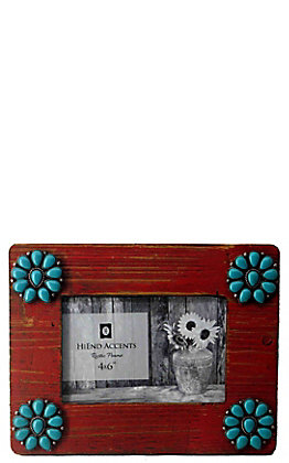 HiEnd Accents Red with Turquoise Squash Blossoms 4x6 Wooden Picture Frame