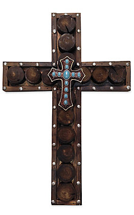 HiEnd Accents Wooden Turquoise Beaded and Wood Circles Cross